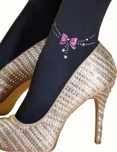 Fashion black tights with anklets