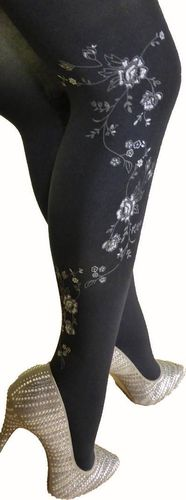 Fashion black tight with flowers