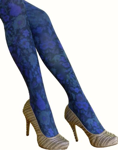 Fashion Pantyhose blue flowers